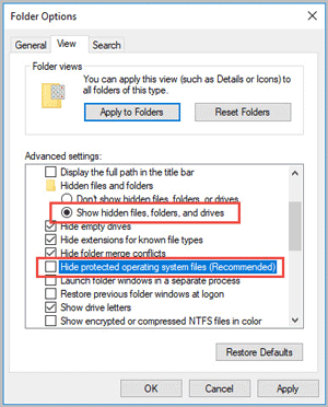 chage settings to show hidden files in folder options