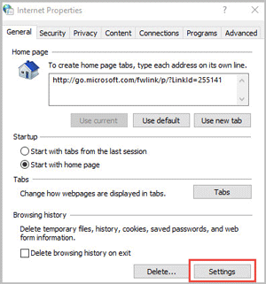 click on settings in internet properties
