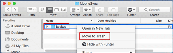 delete backup folder from default itunes backup location