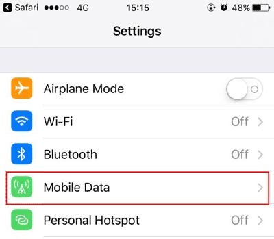 settings step 2 tap mobile data