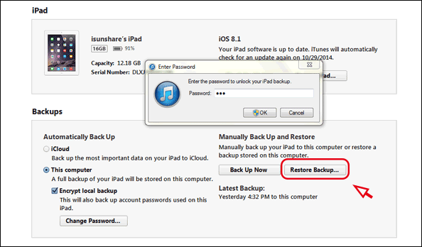 restore iDevice data from iTunes