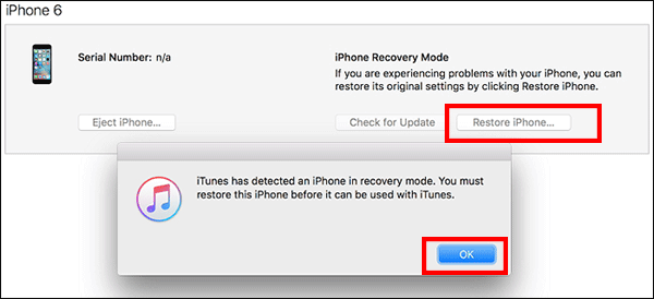 restore iPhone in iTunes using recovery mode