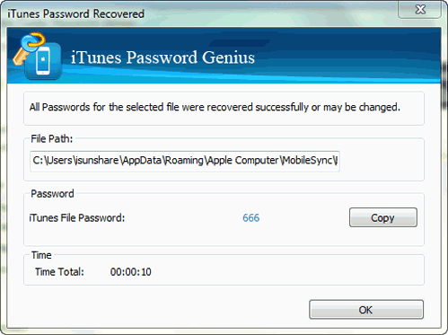 recover iTunes iPhone backup password