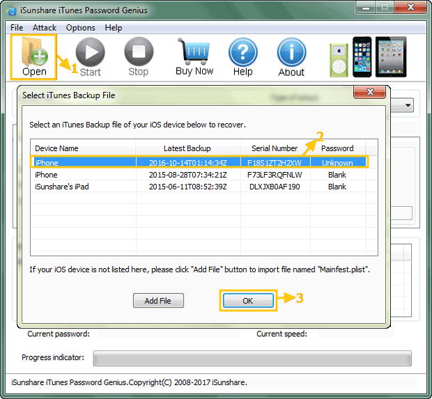 add iPhone backup file to password recovery software