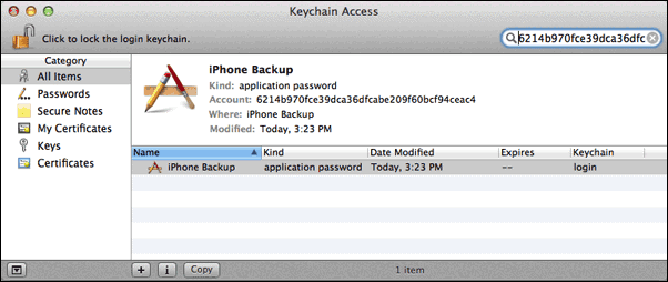 iPhone backup password recovery on Mac