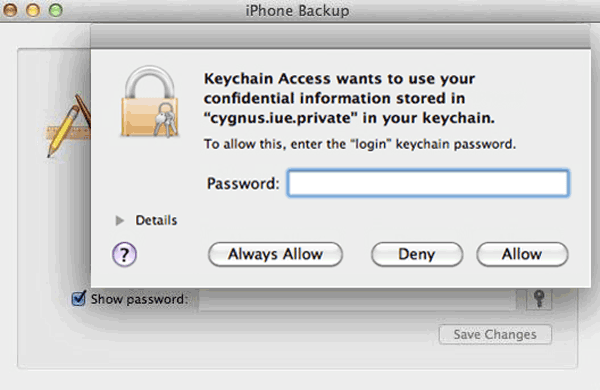 recover iPhone 6 backup password in Keychain