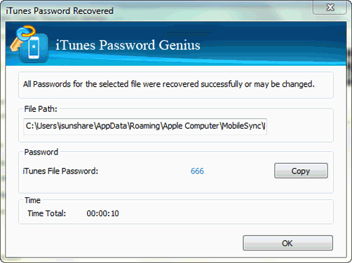 recover encrypted iTunes backup password successfully