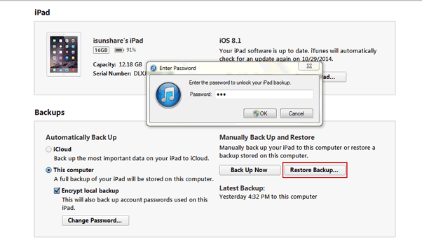 restore iPhone/iPad/iPod from encrypted iTunes backup
