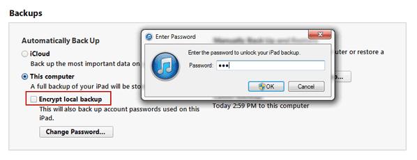 remove iPhone backup password