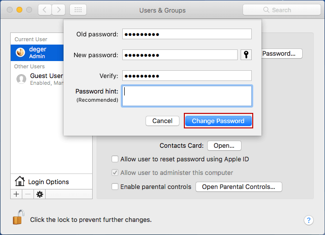 change mac user password