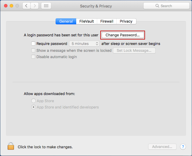 choose to change current user password on mac