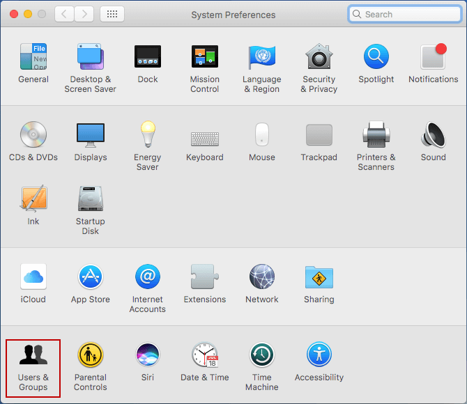choose user and groups in system preferences