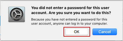 confirm to remove mac user account password