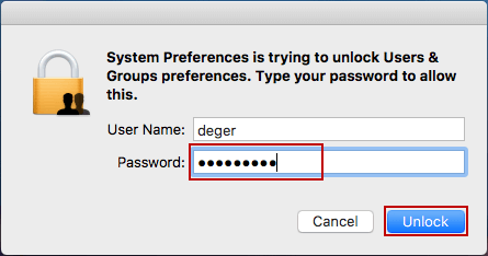 enter password to unlock users and groups preferences