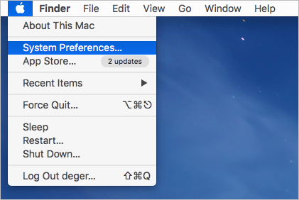 open system preferences on mac