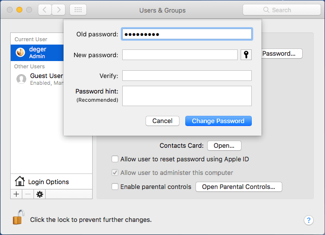 remove mac user password