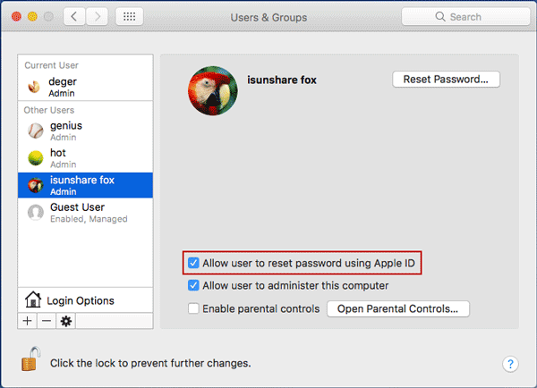 how to reset apple id password on mac