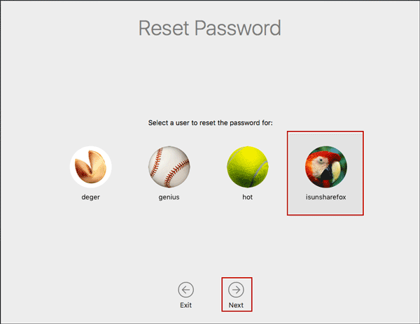 choose a user to reset password on mac