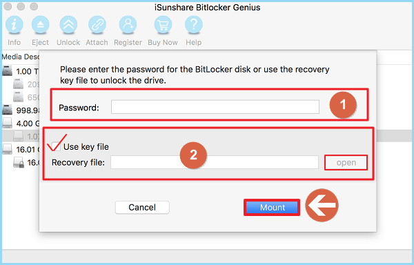Unlock BitLocker Drive with/without Password and Recovery