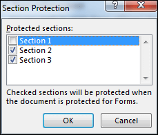 choose section to protect in word 2016