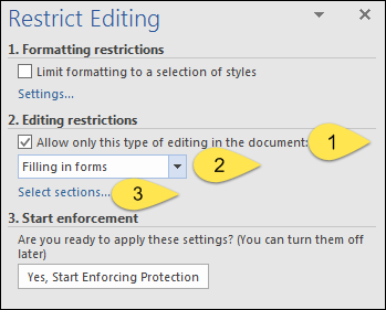 editing restriction fill in form in word 2016