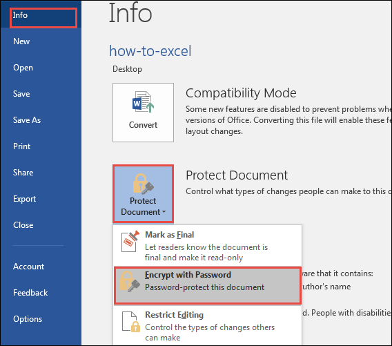 find encrypt document settings in word 2016