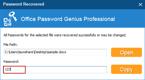 recover word/excel/powerpoint 2016 password successfully
