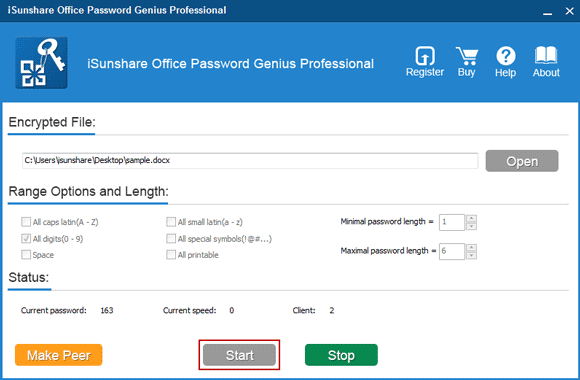 start to perform office 2016 password recovery program