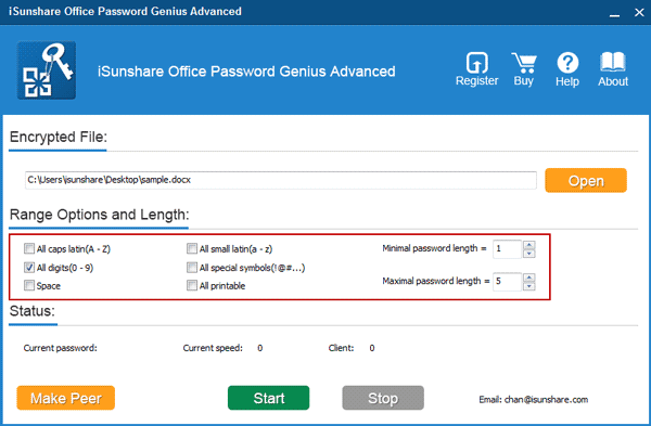set office password recovery range and lenth