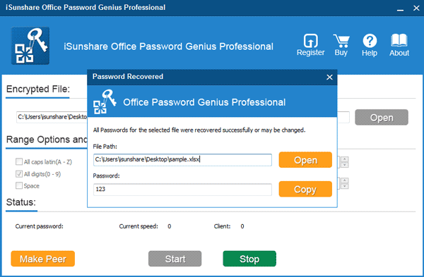 recover Office password successfully with Office Password Genius Professional