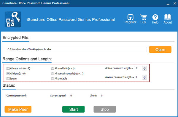 specify Office password range and length