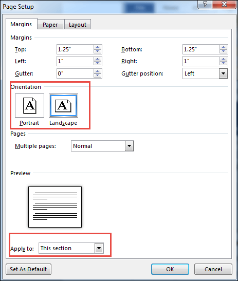 change orientation in page setup