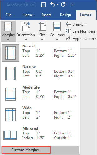 custom margins in word 2016