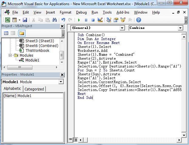 Merge Multiple Excel Worksheets Into One Worksheet Through Vba