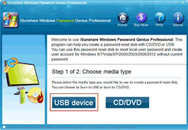 choose usb device to burn password reset disk