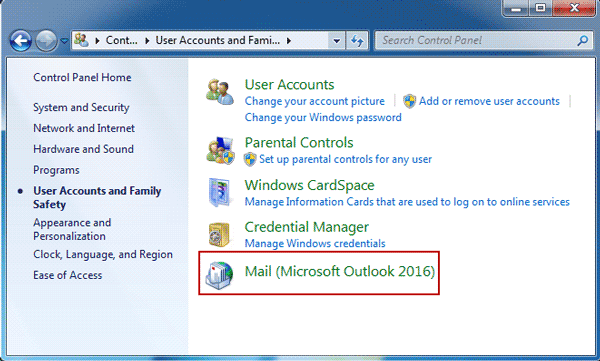 choose mail microsoft outlook 2016