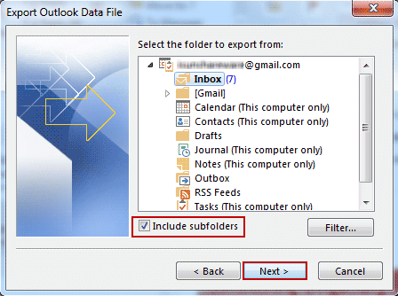 select data folder to export from outlook