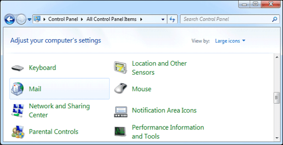 select mail item in control panel