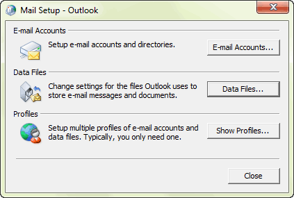 change outlook email password in control panel