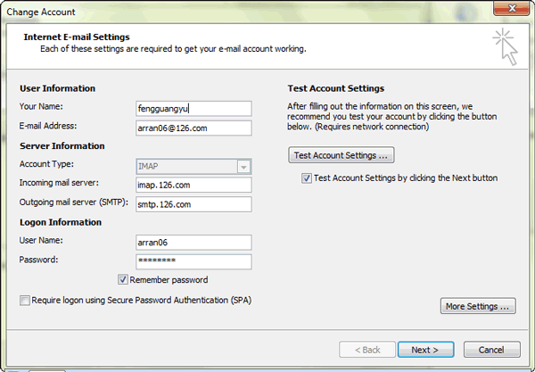 type a new password for outlook 2013 email account