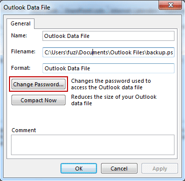 change outlook 2016 data file settings