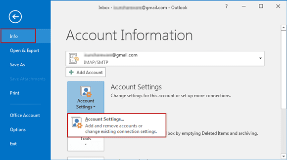 choose account settings in outlook 2016