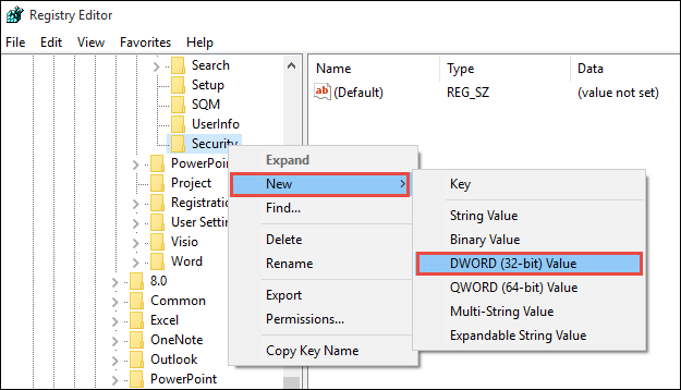 find security key and new its subitem