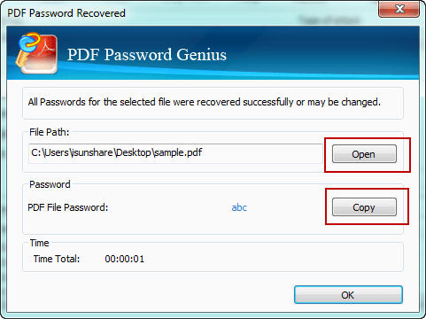 get PDF file password with advanced PDF password recovery tool
