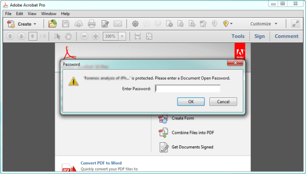 open PDF document with recovered password