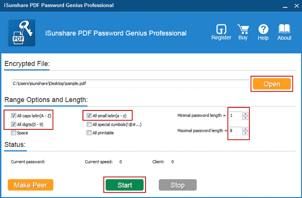 add password protected pdf file to find password