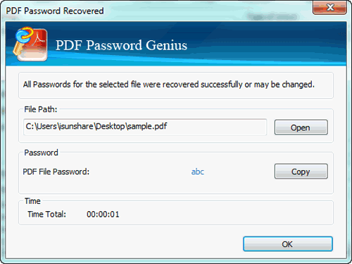open locked PDF file with open password