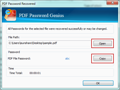 copy password protected PDF file recovered password