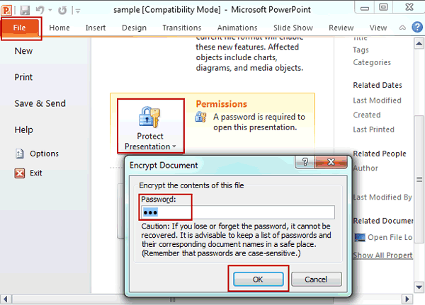 remove PowerPoint file password protection