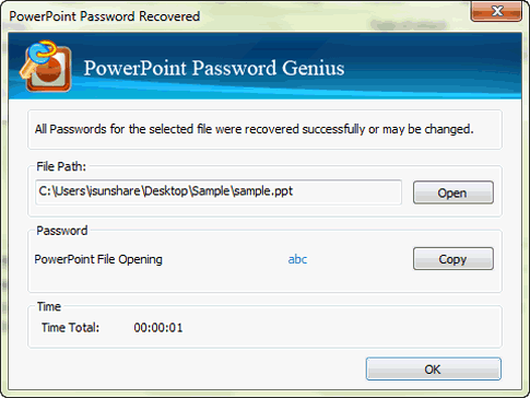 copy recovered password to open PPT or PPTX file